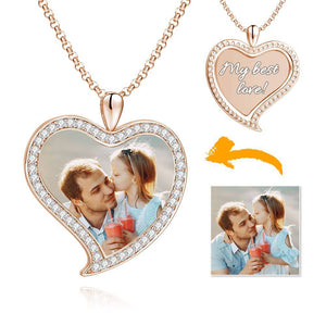 Women's Personalized Rhinestone Crystal Love Heart Shape Photo Engraved Necklace Rose Gold Plated - Colorful