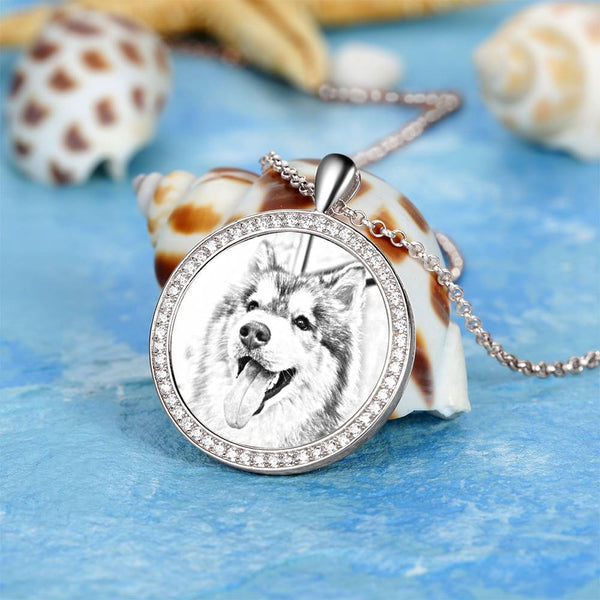 Women's Personalized Rhinestone Crystal Round Shape Photo Engraved Necklace Platinum Plated Silver - Sketch