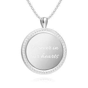 Women's Personalized Rhinestone Crystal Round Shape Photo Engraved Necklace Platinum Plated Silver - Colorful