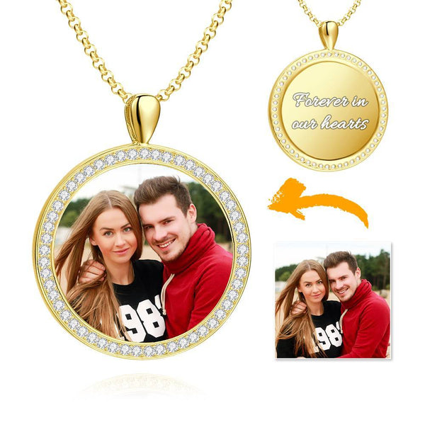 Women's Personalized Rhinestone Crystal Round Shape Photo Engraved Necklace 14K Gold Plated Golden - Colorful