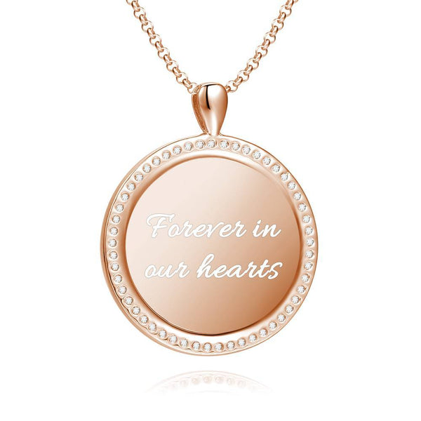 Women's Personalized Rhinestone Crystal Round Shape Photo Engraved Necklace Rose Gold Plated - Colorful