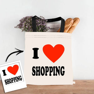 Custom Photo I Love Shopping Double Sided Tote Bag
