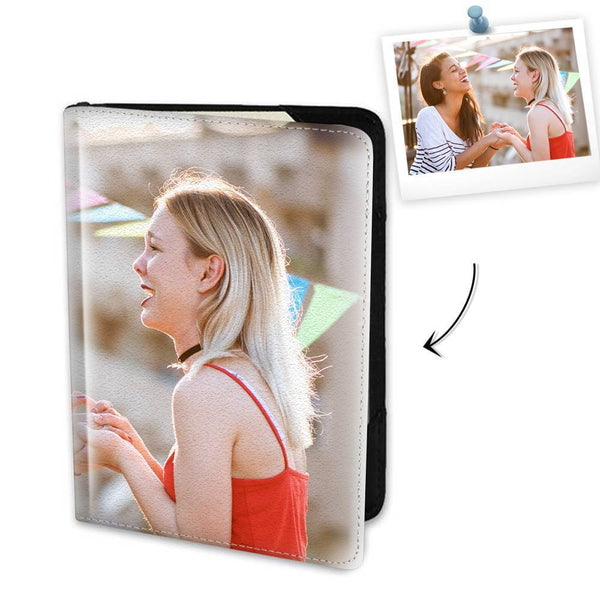 Personalized Photo Passport Holder Leather For Best Friends - 5.5 inch