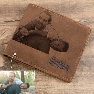 Men's Photo Engraved Bifold Wallet - Brown Leather
