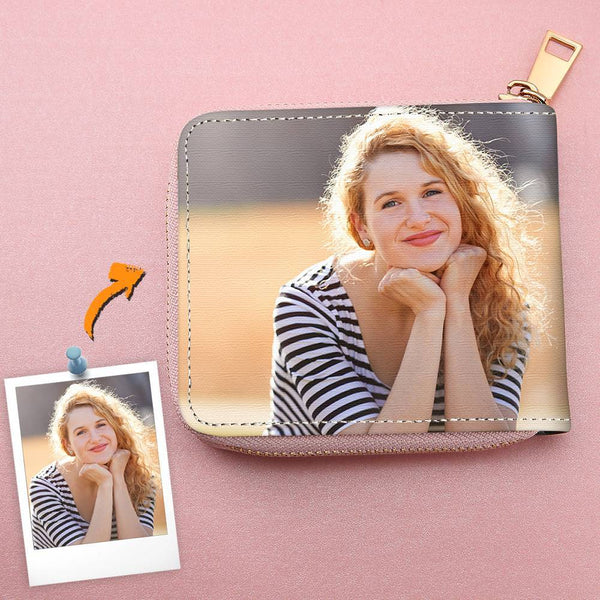 Women's Short Style Leather Custom Double-Sided Photo Pink Zipper Wallet For Her