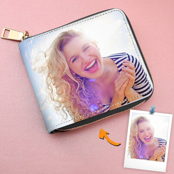 Women's Short Style Leather Custom Double-Sided Photo Black Zipper Wallet For Her