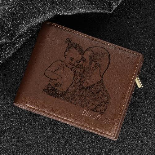 Custom Double-Sided Photo Wallet with Two Pictures Father's Gift