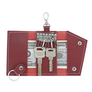 Photo Leather Key Case Key Holder Wallet Dark Red For Her