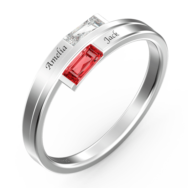 Personalized Birthstone Double Baguette Bypass Promise Ring With Engraving Silver For Her