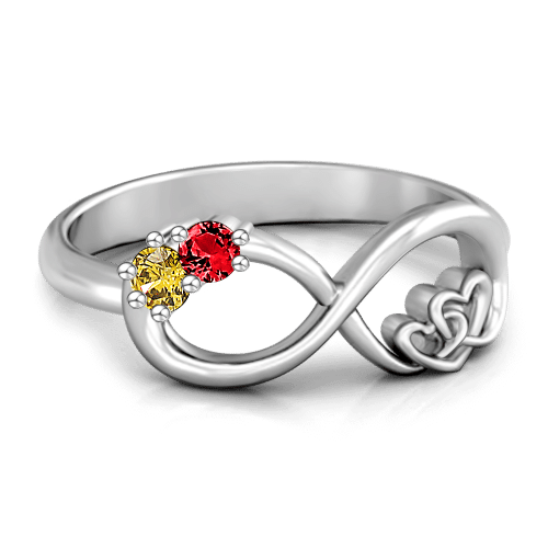 Personalized Birthstone Infinite Love Promise Ring Silver