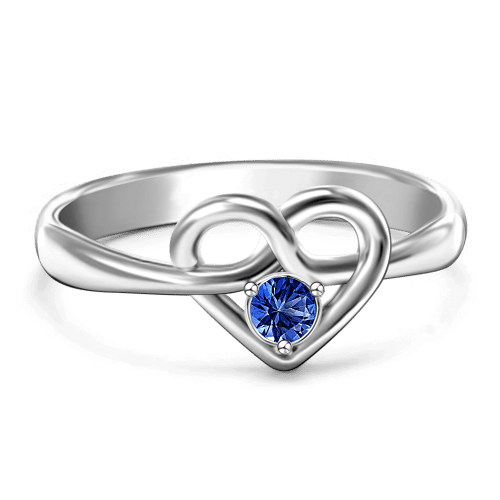 Personalized Birthstone Heart Promise Ring