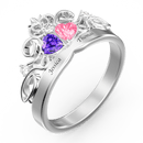 Personalized Heart Birthstone Crown Princess Promise Ring With Engraving Silver For Her