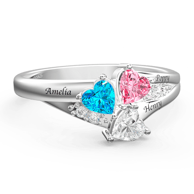 Engraved Mother's Ring With Personalized Heart Birthstone Silver For Her