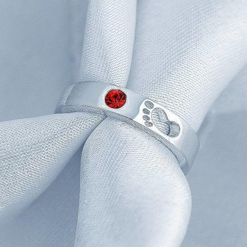 Personalized Birthstone Baby Footprint Promise Ring Silver