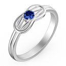 Personalized Birthstone Love Knot Promise Ring Silver