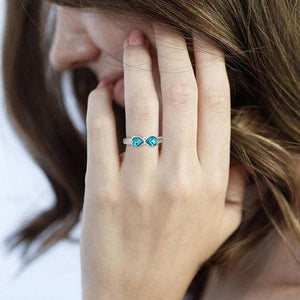 Engraved Birthstone Adorable Bow Promise Ring