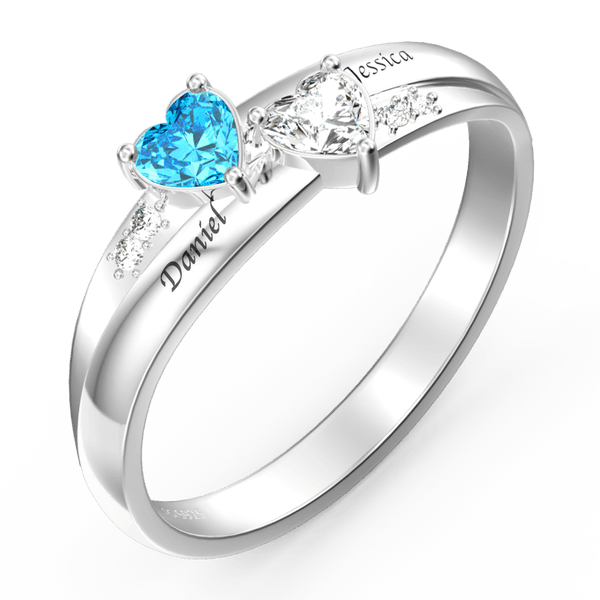 Silver Engraved Promise Ring With Double Heart Birthstone For Her