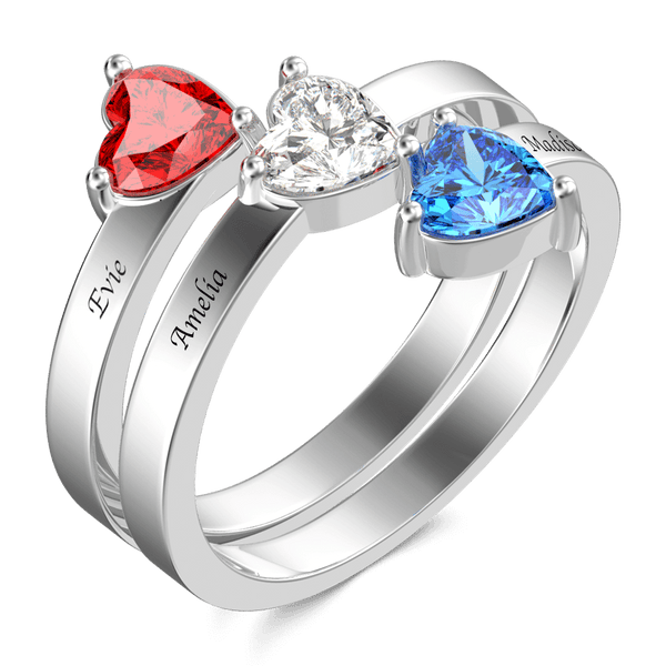 Three Heart Birthstone Promise Ring with Engraving Silver