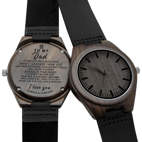 To My Dad - From Son -Leather Wooden Watch