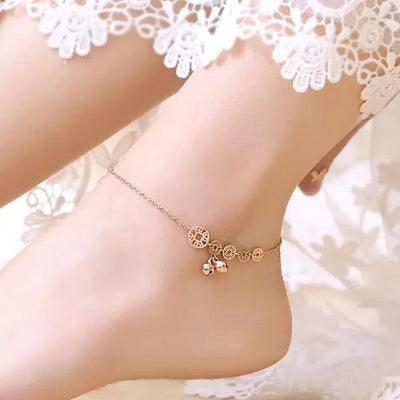Openwork Round Flake And Bell Anklet