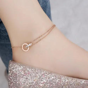 Roman Double Ring Anklet Rose Gold Color