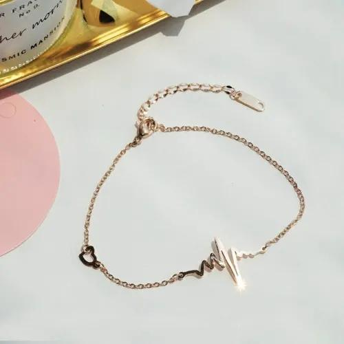 Heartbeat Electrocardiogram Fashion Anklet Rose Gold Color