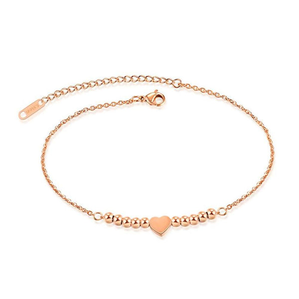 Round Beads And Heart Single Layer Anklet
