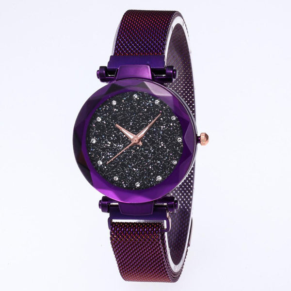 Star Dial Watch Simple Style Purple