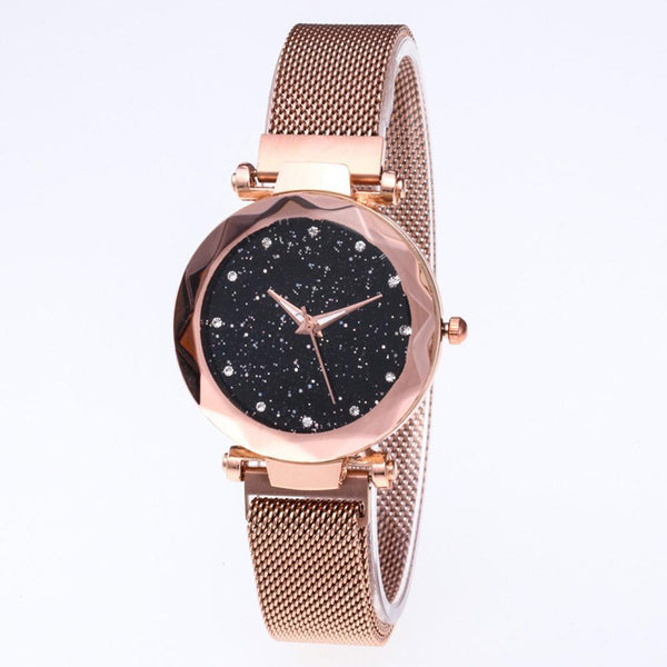 Star Dial Watch Simple Style Rose Golden