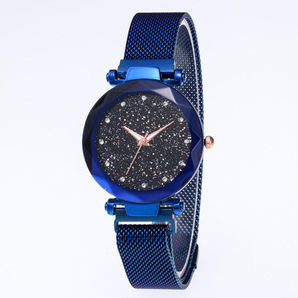 Star Dial Watch Simple Style Sapphire Blue