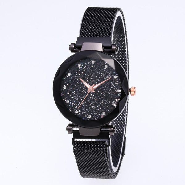 Star Dial Watch Simple Style Black