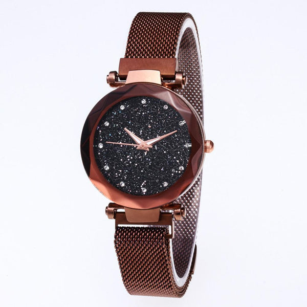 Star Dial Watch Simple Style Coffee Golden