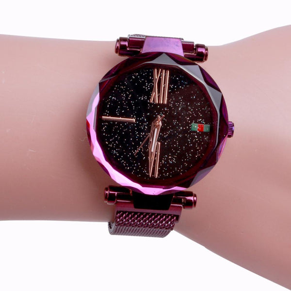 Star Dial Watch with Roman Numerals Purple