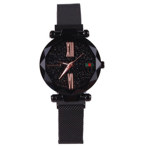 Star Dial Watch with Roman Numerals Black