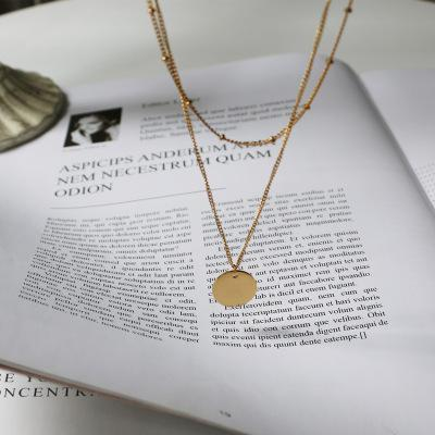 Round Brand Necklace in 14K Gold Plated