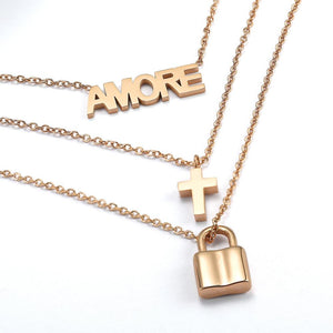 Triple Layered Necklace in Rose Gold Plated
