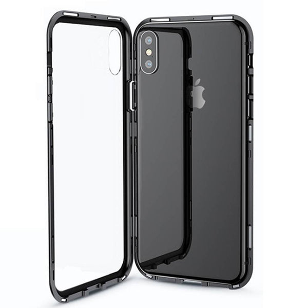iPhone Case Double Side Tempered Glass with Magnetic Black