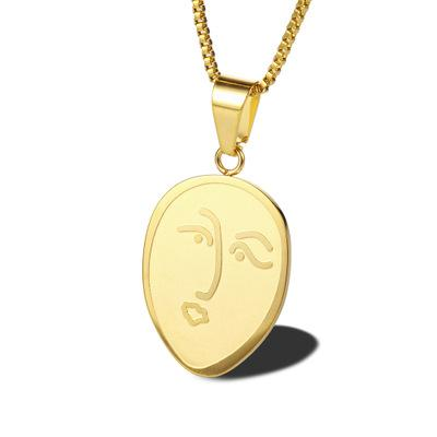 Creative Face Necklace 14K Gold Plated Stainless Steel (Chain Length 60cm)