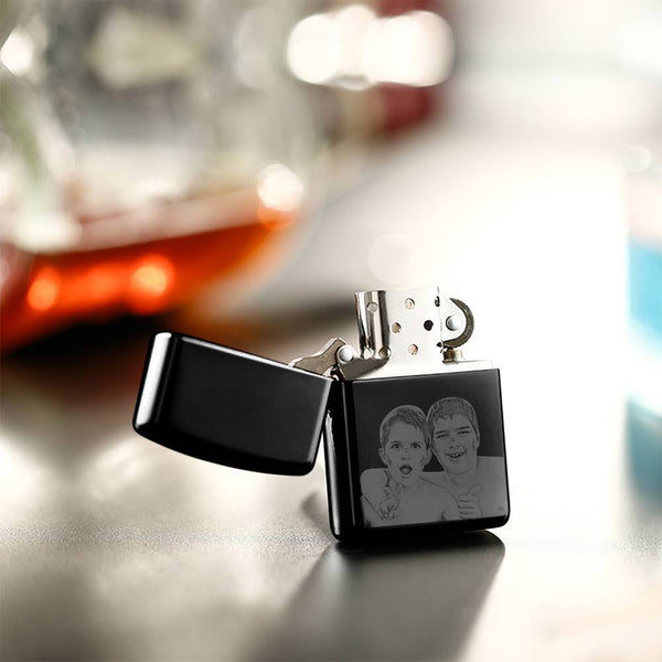 Photo Engraved Lighter Personalized Gifts For Friend - Black (No Kerosene Included)