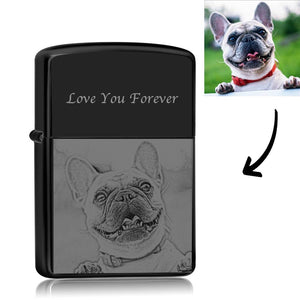 Photo Engraved Lighter Cute Dog - Black (No Kerosene Included)