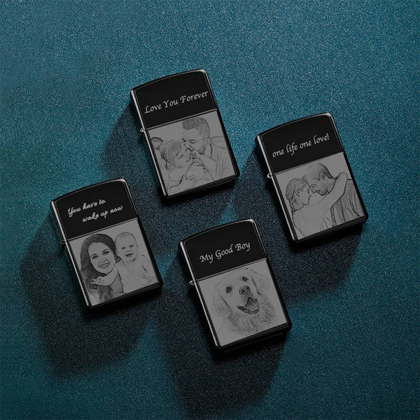 Photo Engraved Lighter Lovely Babies Black (No Kerosene Included)