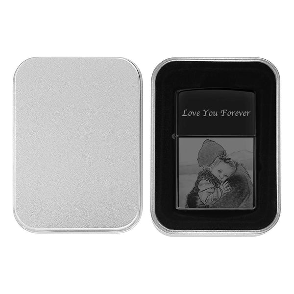 Photo Engraved Lighter Personalized Gift For Dad - Black (No Kerosene Included)