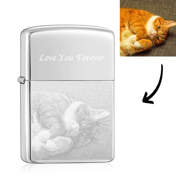 Photo Engraved Lighter My Cute Pet - Silver (No Kerosene Included)