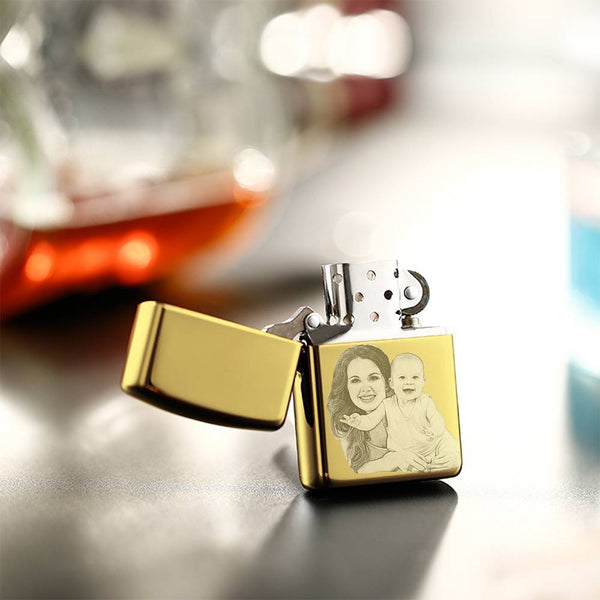 Creative Photo Engraved Lighter Personalized Gifts - Golden (No Kerosene Included)