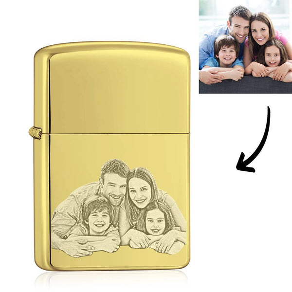 Photo Engraved Lighter Personalized Gifts Happy Family - Golden (No Kerosene Included)