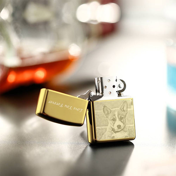 Photo Engraved Lighter My Cute Dog - Golden (No Kerosene Included)