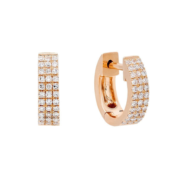 Diamond Triple Row Huggie Earring 14K