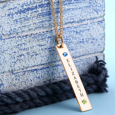 Personalized Birthstone Vertical Bar Necklace With Engraving Rose Gold Plated Silver