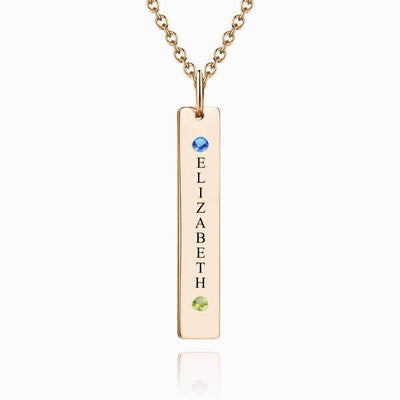 Personalized Birthstone Vertical Bar Necklace With Engraving Silver