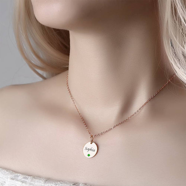 Coin Tag Personalized Birthstone Necklace With Engraving Rose Gold Plated Silver